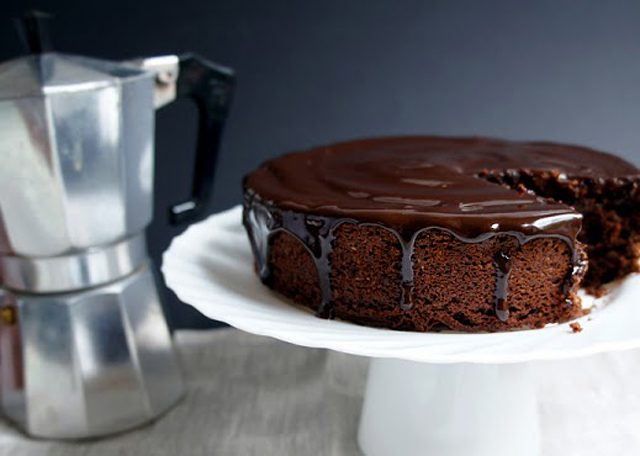 Avocado Cocoa Cake with Coffee-Chocolate Glaze