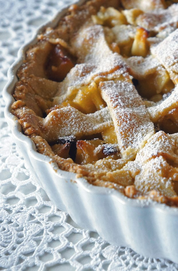 Apple-Marzipan Tarte with Caramel & Rum Raisins