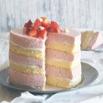 Layered Roasted Strawberry & White Chocolate Cheesecake