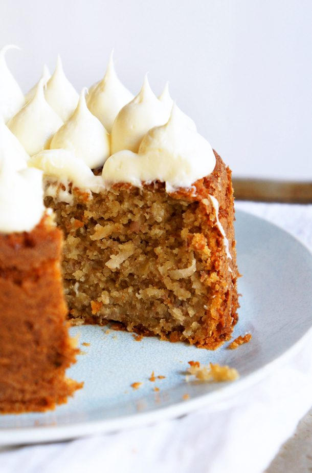 Banana Cake with Coconut and Creamy Honey Frosting - Sugary & Buttery