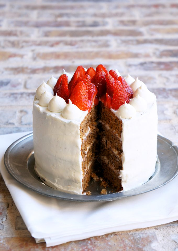 Sugary and Buttery - Greek Walnut Cake with Strawberries and Cream