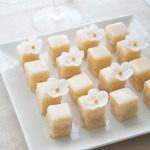 Peach Petit Fours with Sugar Flowers