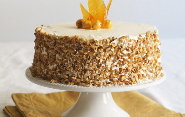 Hazelnut Cake with Marzipan and Apple Buttercream