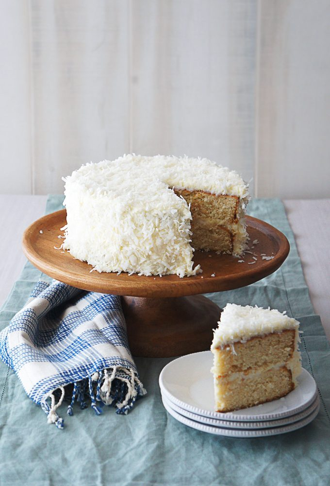 Orange Coconut Cream Cake sliced