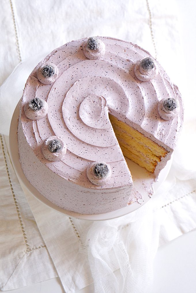 Sugary & Buttery - Vanilla Chiffon Cake with Blueberry Buttercream