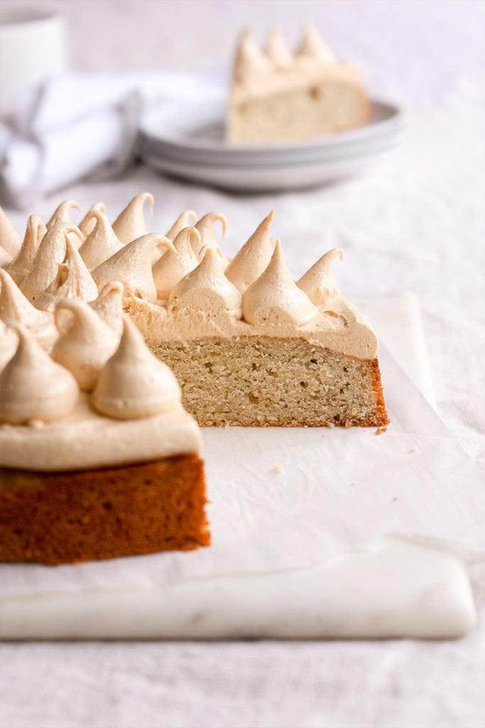 Banana Cake with Salted Peanut Butter Frosting - Sugary & Buttery