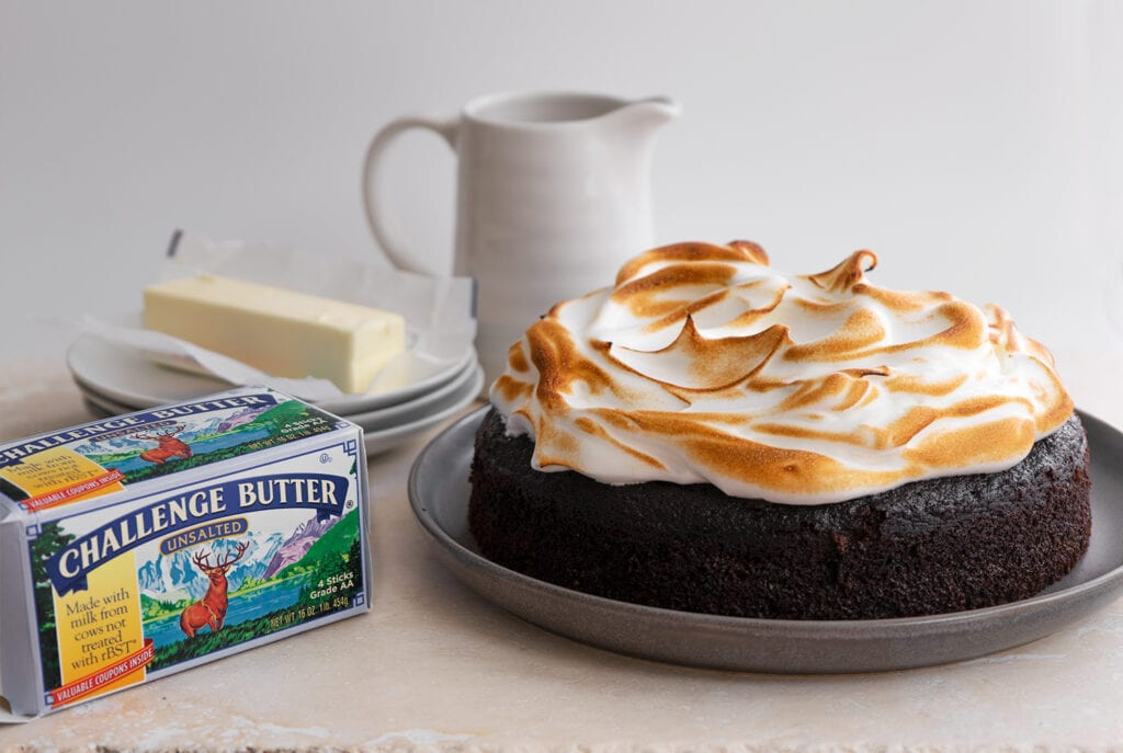 Chocolate Guinness Cake with Toasted Meringue - Sugary & Buttery