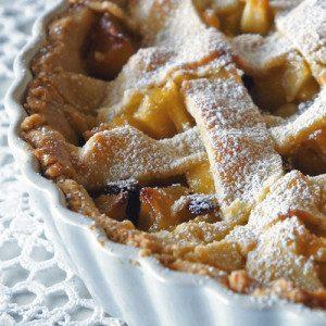Apple-Marzipan Tarte with Caramel & Rum Raisins