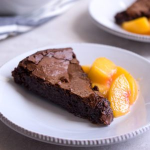 Sugary & Buttery - Chocolate Fudge Cake with Buttery Peach Compote